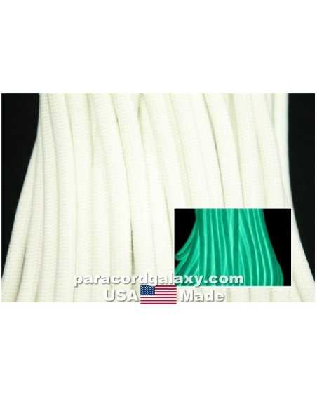 550 Paracord ParaGlow in the Dark White Made in USA