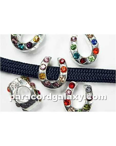 MULTI COLOR Rhinestone - Horseshoe - Bead/Charm for Paracord