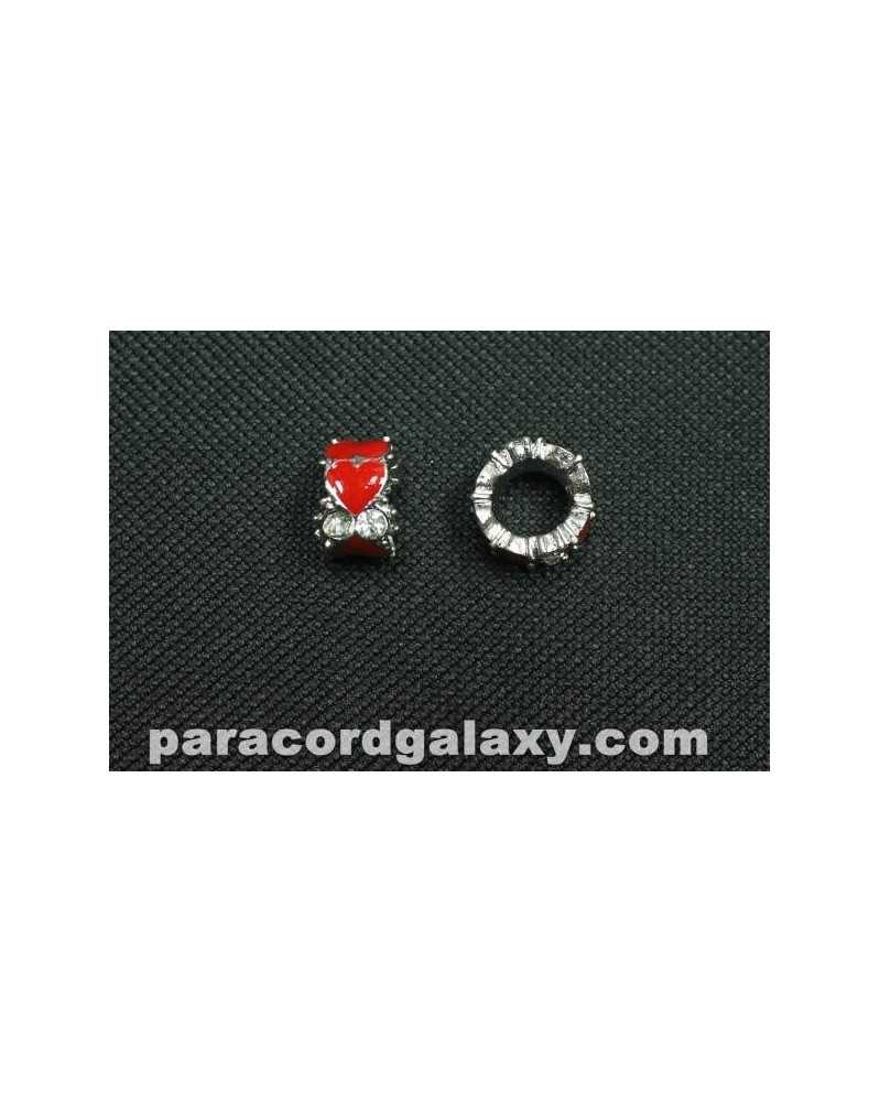Single Red Hearts Bead with Clear Rhinestones