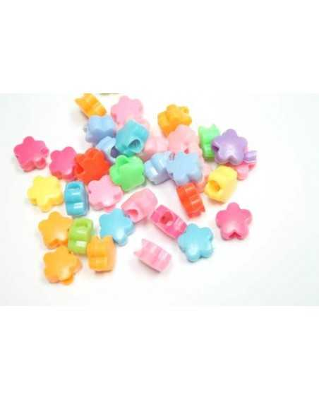 Flower Beads (Assorted Colors) - Plastic Beads