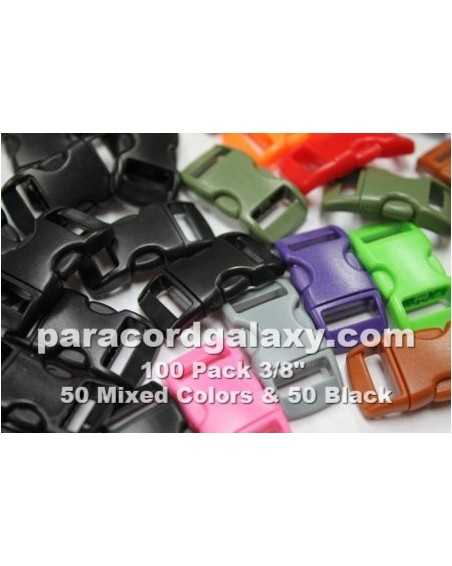 100 PACK - 3/8 IN - 50MIXED +50BLACK - Side Release Buckles