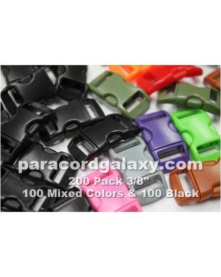200 PACK - 3/8 IN - 100 MIXED + 100 BLACK - Side Release Buckles