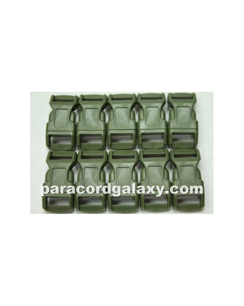 "10 PACK  -  1/2"" - GREEN - Side Release Buckles Military"