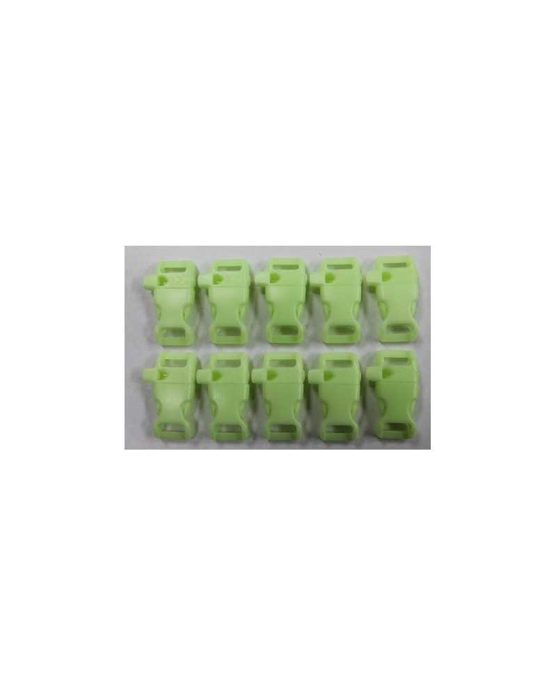"""10 PACK  -  1/2"""" - GLOW in the DARK  WHISTLE - Side Release Buckles"""