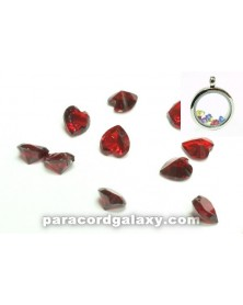 SINGLE - Birthstone Floating Charms Heart Red