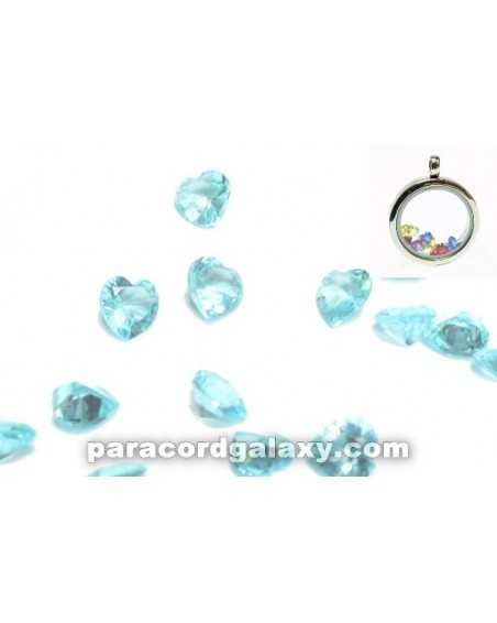 Birthstone Floating Charms Heart Sky Blue