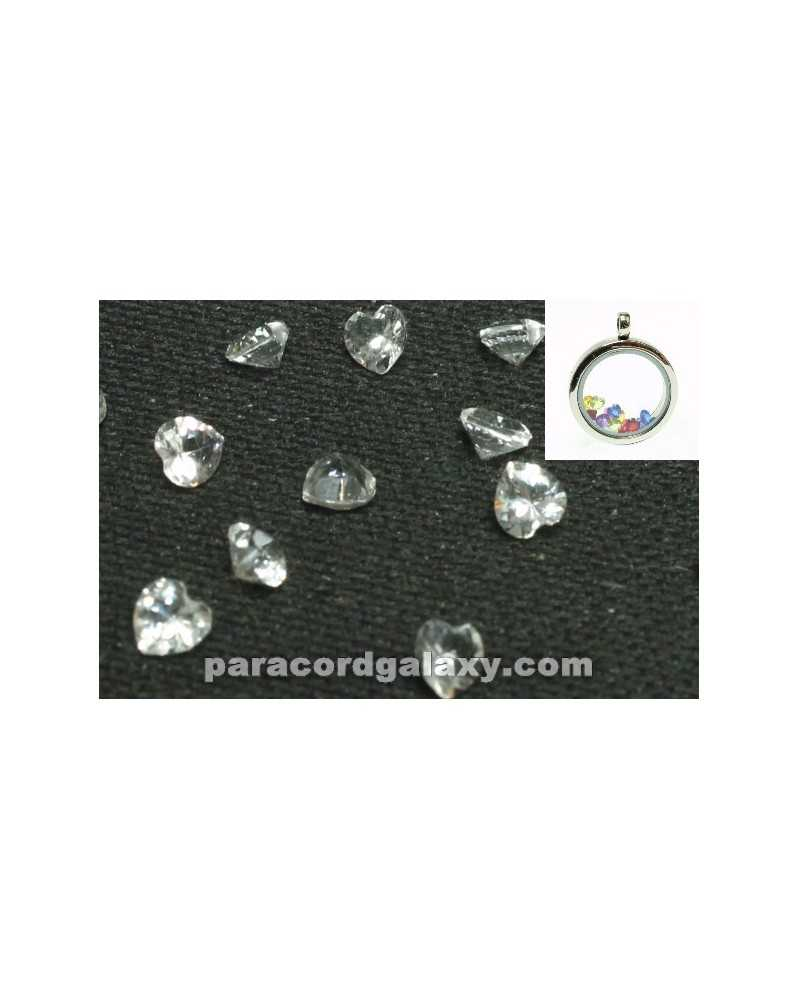 SINGLE - Birthstone Floating Charms Heart Clear