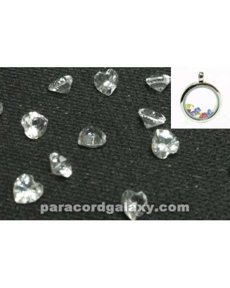 Birthstone Floating Charms Heart Clear