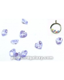 SINGLE - Birthstone Floating Charms Heart Light Purple
