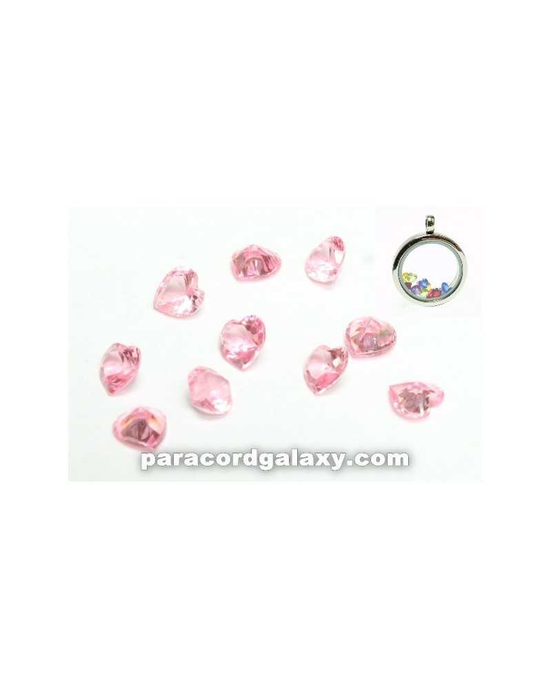 SINGLE - Birthstone Floating Charms Heart Light Pink