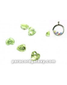 SINGLE - Birthstone Floating Charms Heart Light Green
