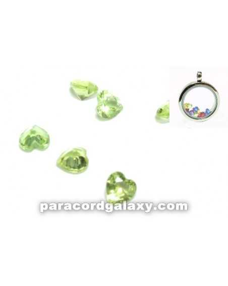 Birthstone Floating Charms Heart Light Green