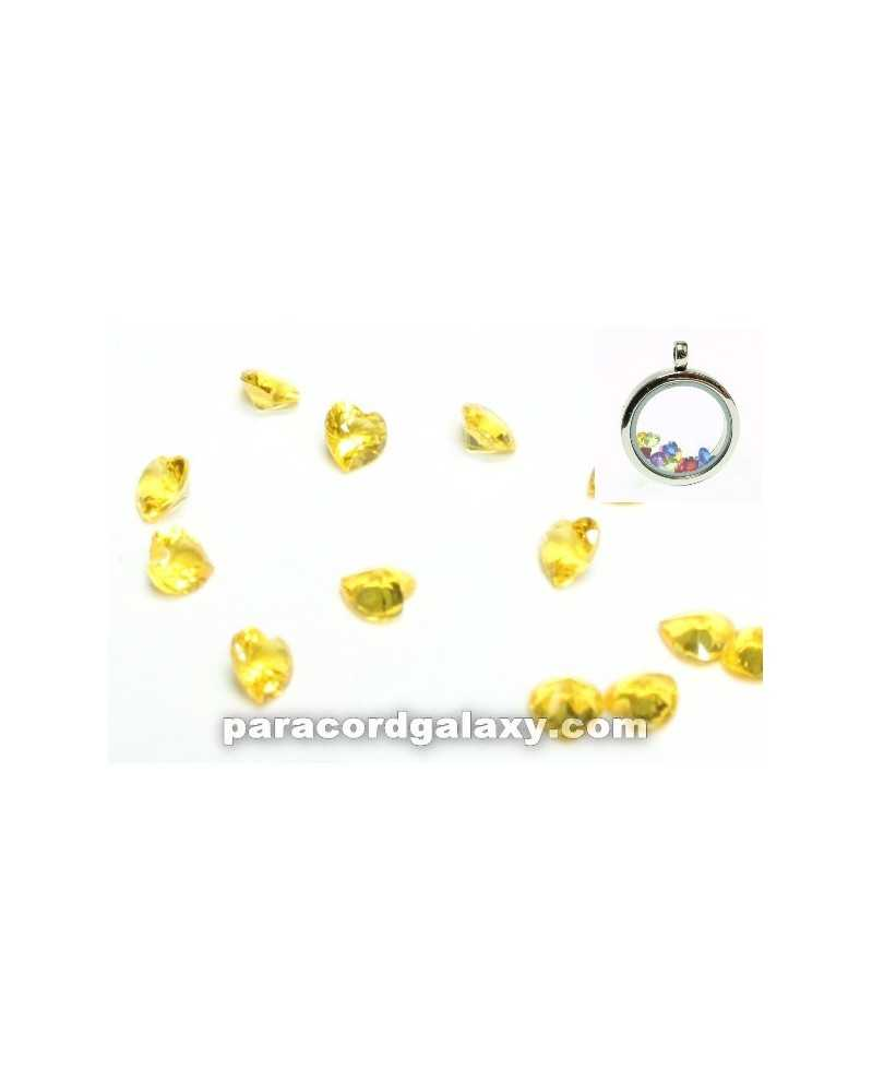 SINGLE - Birthstone Floating Charms Heart Yellow