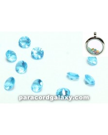SINGLE - Birthstone Crystal Floating Charms Aqua Blue