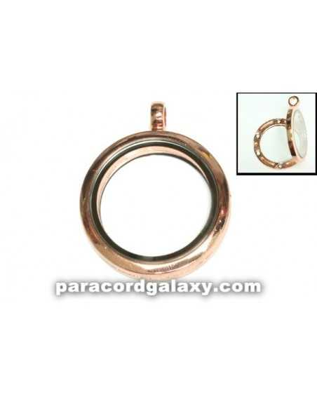 Floating Round Locket Pendant Copper Tone