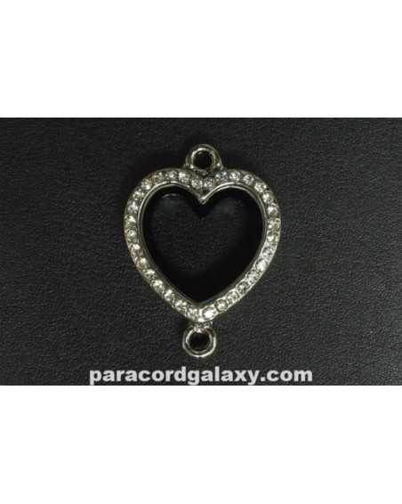 Floating Heart Locket Pendant Silver Tone with Clear Jewels Two Hole