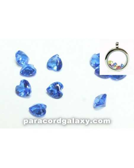 Birthstone Floating Charms Heart Dark Blue
