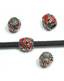 Red Ribbon Awareness Barrel Bead - Single Bead