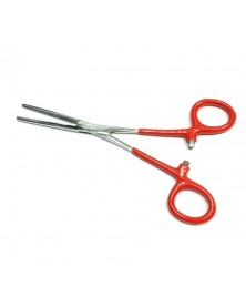 "Forceps Heavy Duty Straight Nose 6 1/4"" Stainless Steel with Red Handles"