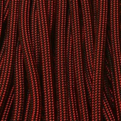 550 Paracord Imperial Red w/ Black Stripes (Fire Fighter) Made in USA