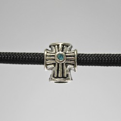 Antiqued Cross with Blue Stone