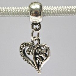 Dangling Floral Heart Charm