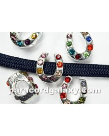 10 PACK - MULTI COLOR Rhinestone - Horseshoe - Bead/Charm for Paracord