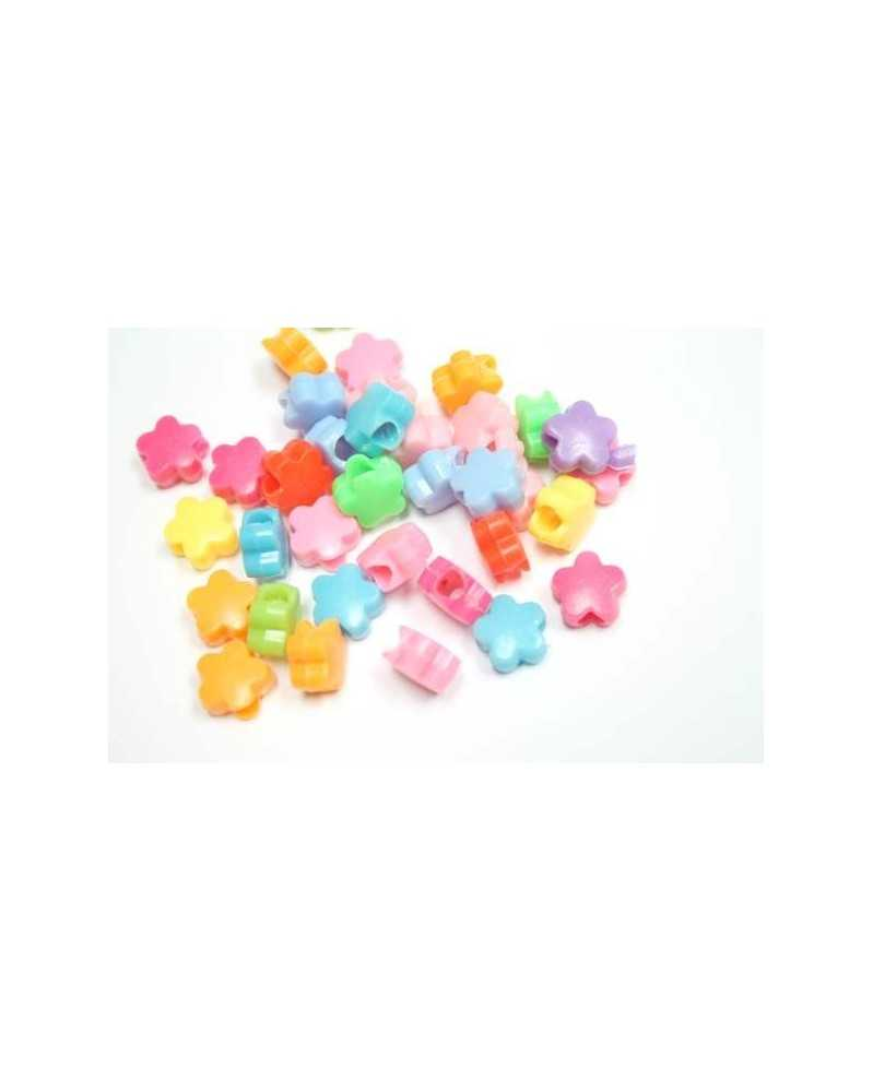 25 PACK - Flower Beads (Assorted Colors) - Plastic Beads