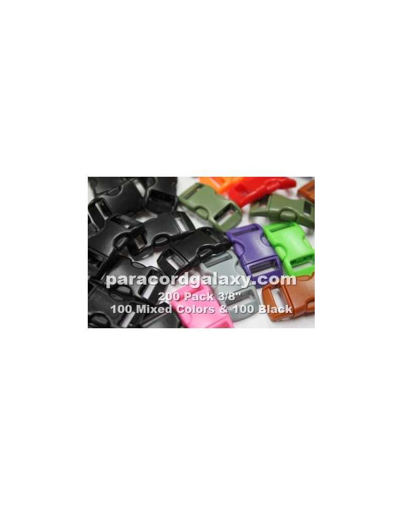 "200 PACK - 3/8"" - 100 MIXED + 100 BLACK - Side Release Buckles"