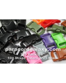 125 PACK - 3/8 IN - 100 MIXED + 25 BLACK - Side Release Buckles
