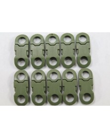 "10 PACK - 1/4"" - MILITARY GREEN - Side Release Buckles with Round Ends"