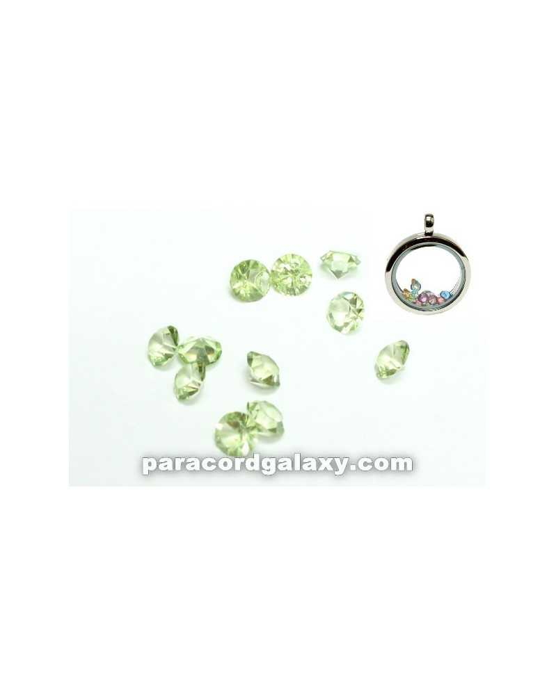 Peridot green august birthstone floating lockets charms necklace single birthstone floating charms light green aloadofball Image collections