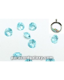 Birthstone Crystal Floating Charms Sky Blue