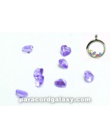 SINGLE - Birthstone Floating Charms Heart Purple