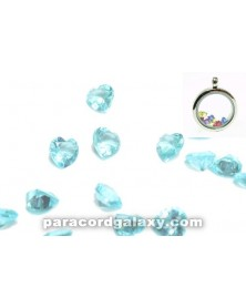 SINGLE - Birthstone Floating Charms Heart Sky Blue