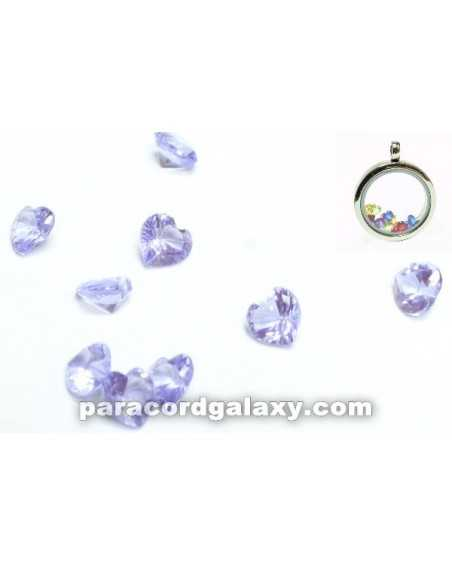 Birthstone Floating Charms Heart Light Purple