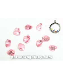 Birthstone Floating Crystal Charms Light Pink Heart