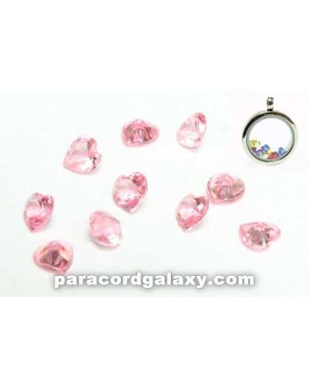 Birthstone Floating Charms Heart Light Pink