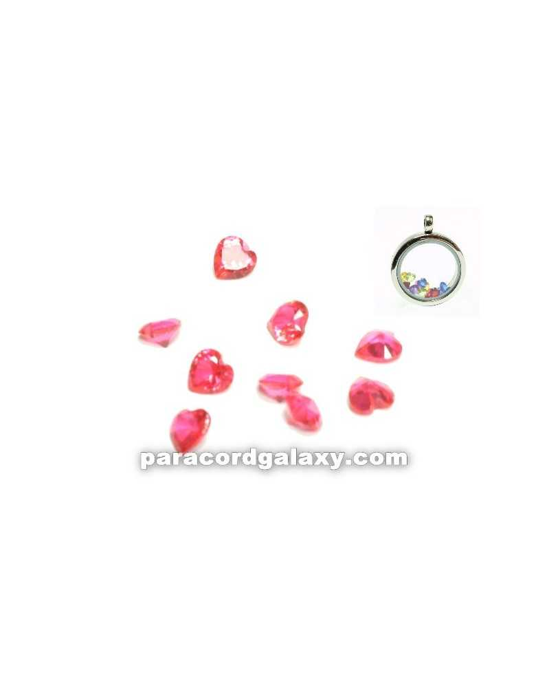 SINGLE - Birthstone Floating Charms Heart Pink