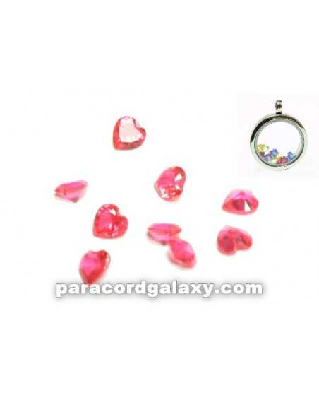 Birthstone Floating Charms Heart Pink