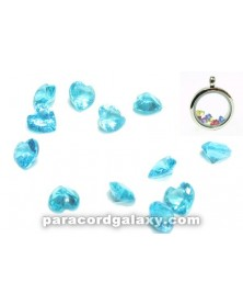 SINGLE - Birthstone Floating Charms Heart Aqua Blue