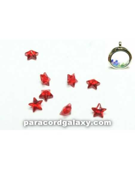 Birthstone Star Floating Charms Red