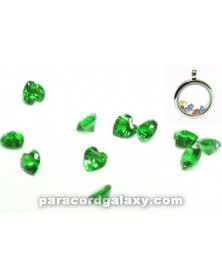 Birthstone Floating Crystal Charms Heart Green