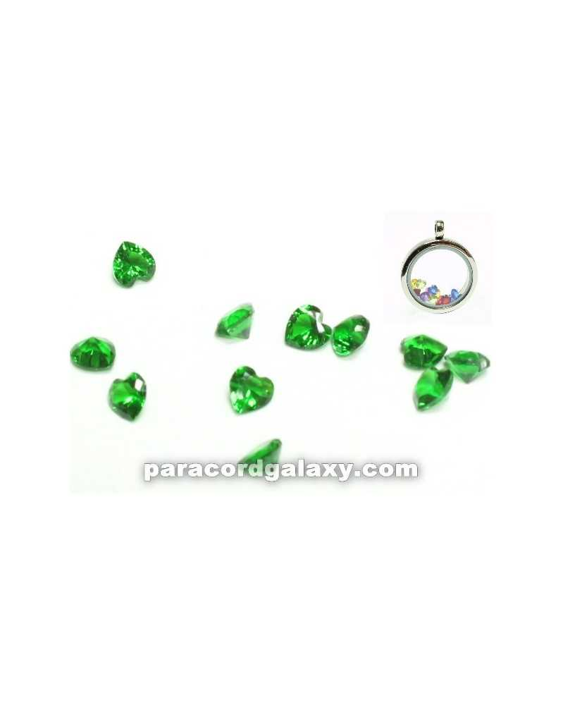 SINGLE - Birthstone Floating Charms Heart Green