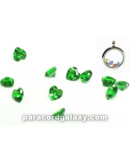 Birthstone Floating Charms Heart Green