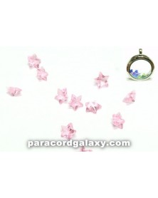 Birthstone Crystal Star Floating Charms Light Pink