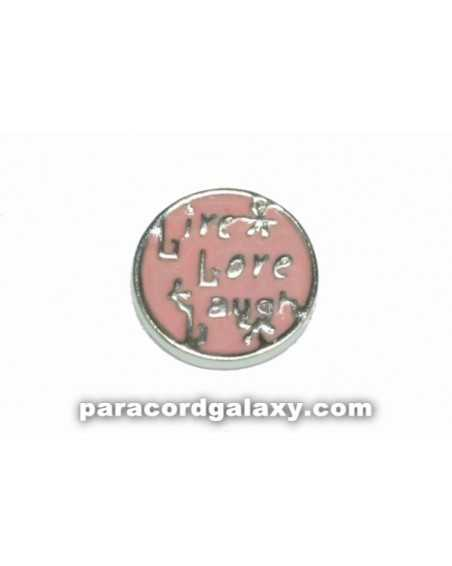 Floating Charm Round - Live, Love, Laugh - Light Pink