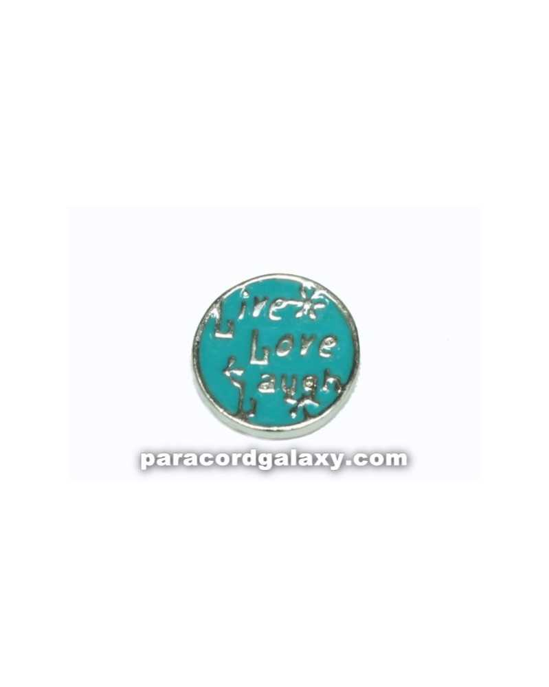 Floating Charm Round - Live, Love, Laugh - Blue