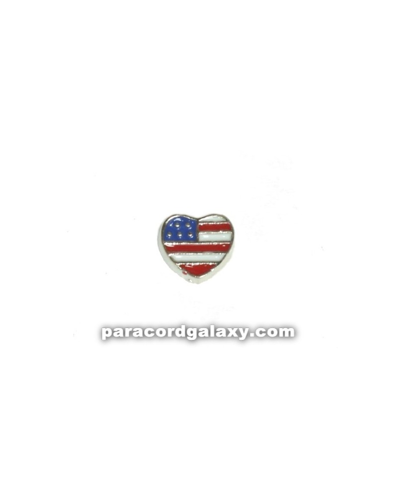 Floating Charm Heart USA Flag