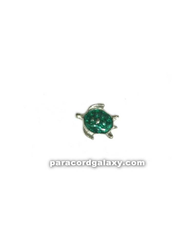 Floating Charm Turtle Green and Silver